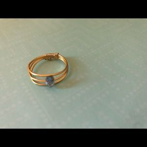 Gold copper ring with light blue glass bead